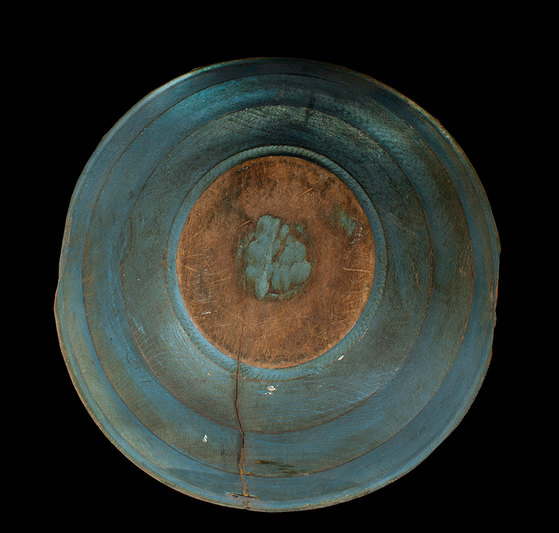 Antique Beehive Turned Bowl, Treen Mixing Bowl, Original Blue Paint, Dry Patina New England, 18th Century, bottom view
