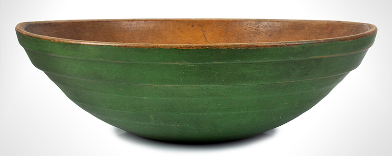 Antique, Beehive Turned Maple Bowl, Original & Fantastic Green Paint New England, circa 1800-1850, entire view 1
