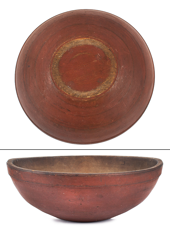 Red Beehive turned bowl in original red surface.