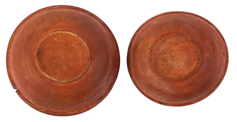 Antique, SMALL Treen Bowls, Nesting, Original Red Paint New England, Likely 18th Century (c.1780-1840) Rarely encountered in this size and surface  Birch, bottom view