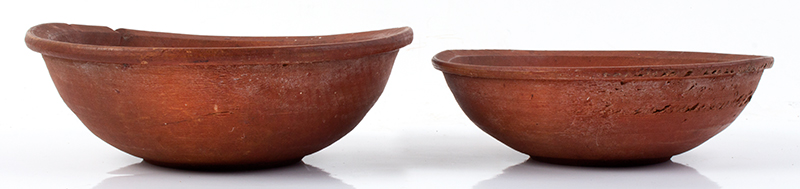 Antique, SMALL Treen Bowls, Nesting, Original Red Paint New England, Likely 18th Century (c.1780-1840) Rarely encountered in this size and surface  Birch, entire view 1