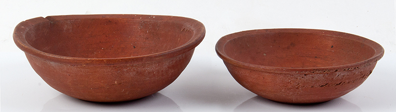 Antique, SMALL Treen Bowls, Nesting, Original Red Paint New England, Likely 18th Century (c.1780-1840) Rarely encountered in this size and surface  Birch, entire view 2