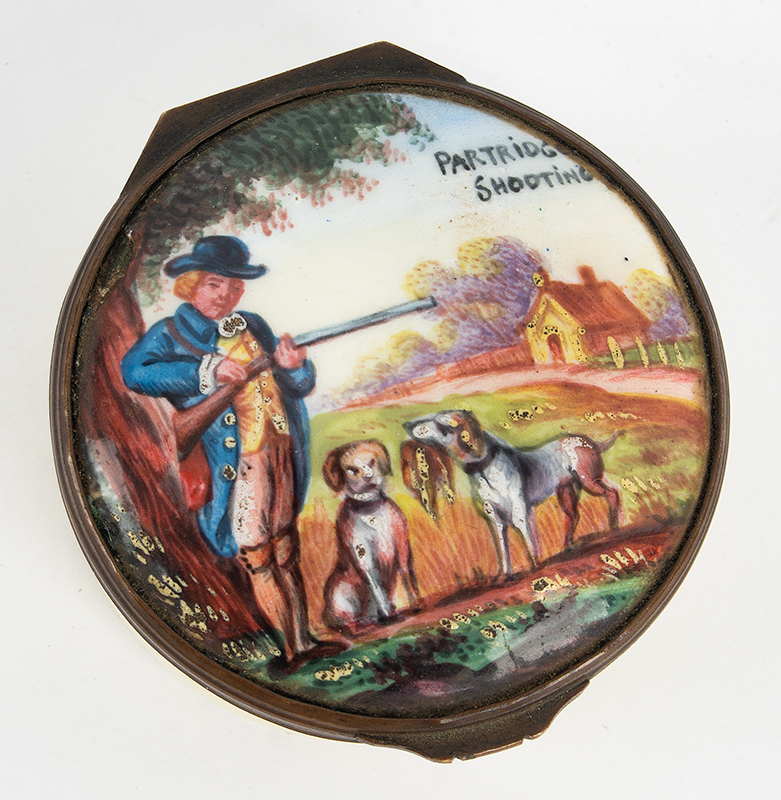 Eighteenth Century Enameled Box, Hunting Scene, PARTRIDE SHOOTING, Patch, Bonbon  England, Circa 1775-1800, entire view