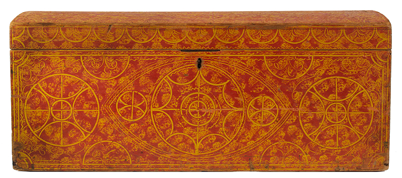 Paint Decorated Dome Top Trunk, Vinegar, Compass, Original Red on Yellow Paint New England, circa 1835 Eastern white pine, entire view 1