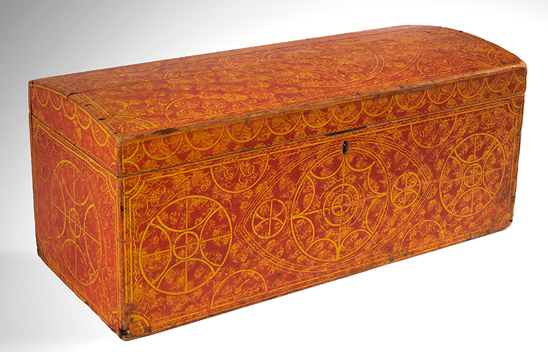 Paint Decorated Dome Top Trunk, Vinegar, Compass, Original Red on Yellow Paint New England, circa 1835 Eastern white pine, entire view 2