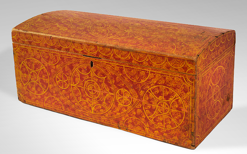 Paint Decorated Dome Top Trunk, Vinegar, Compass, Original Red on Yellow Paint New England, circa 1835 Eastern white pine, entire view 3