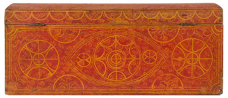 Paint Decorated Dome Top Trunk, Vinegar, Compass, Original Red on Yellow Paint New England, circa 1835 Eastern white pine, entire view 4