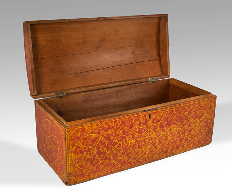 Paint Decorated Dome Top Trunk, Vinegar, Compass, Original Red on Yellow Paint New England, circa 1835 Eastern white pine, entire view 5