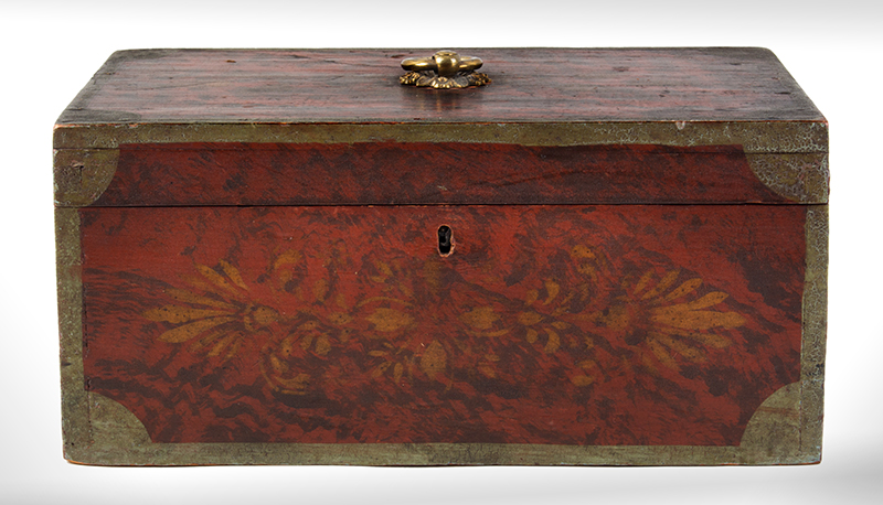 Antique, Paint Decorated Document Box Maine, circa 1835 Basswood, entire view 1