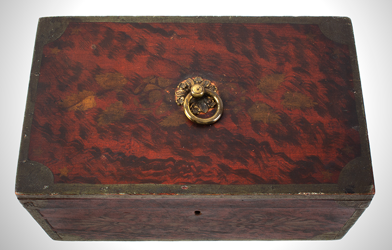 Antique, Paint Decorated Document Box Maine, circa 1835 Basswood, entire view 4