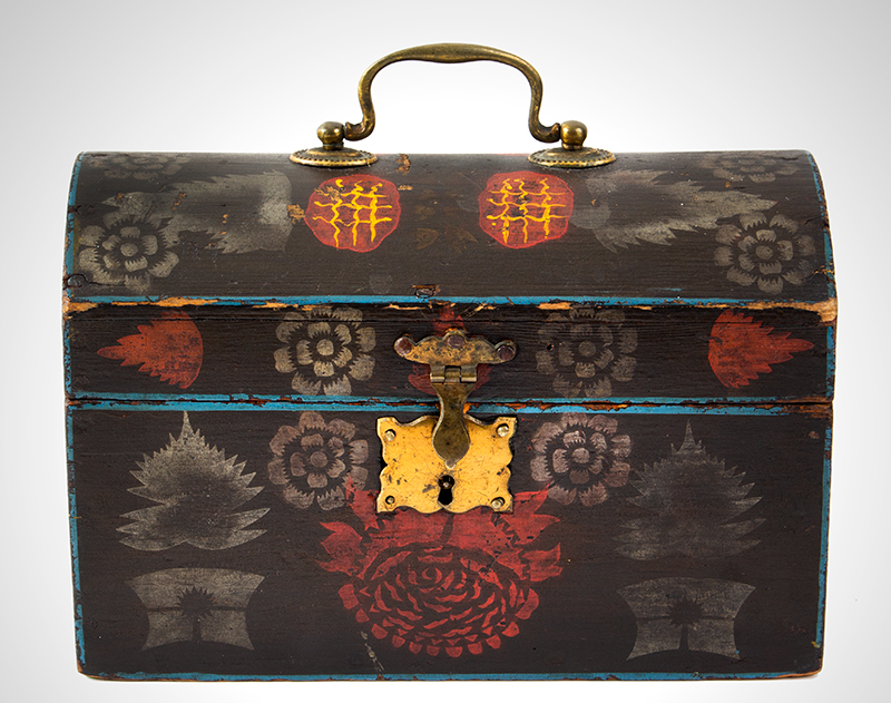 19th Century Diminutive Dome-top Trunk, Outstanding Decoration America, early 19th Century Poplar and white pine, entire view 1