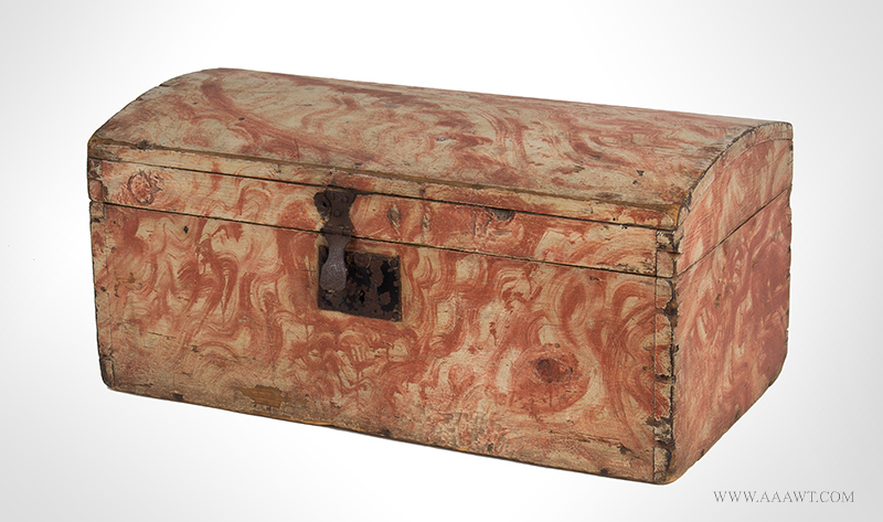 Dome Top Box, Small Size Trunk, Paint Decorated, Original Salmon view-1_1221-6
