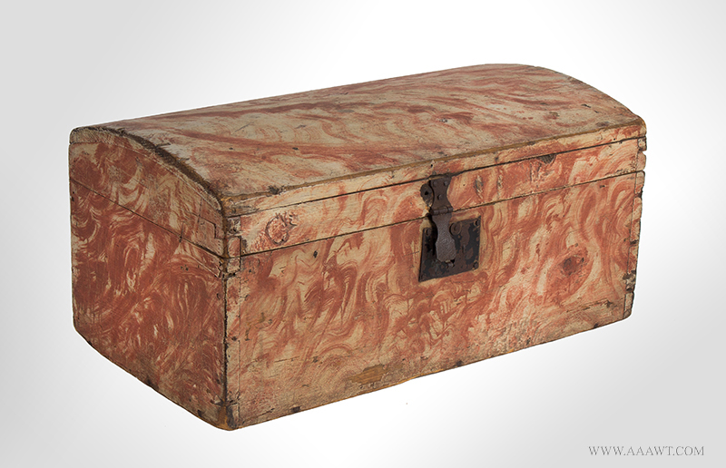 Dome Top Box, Small Size Trunk, Paint Decorated, Original Salmon view-2_1221-6