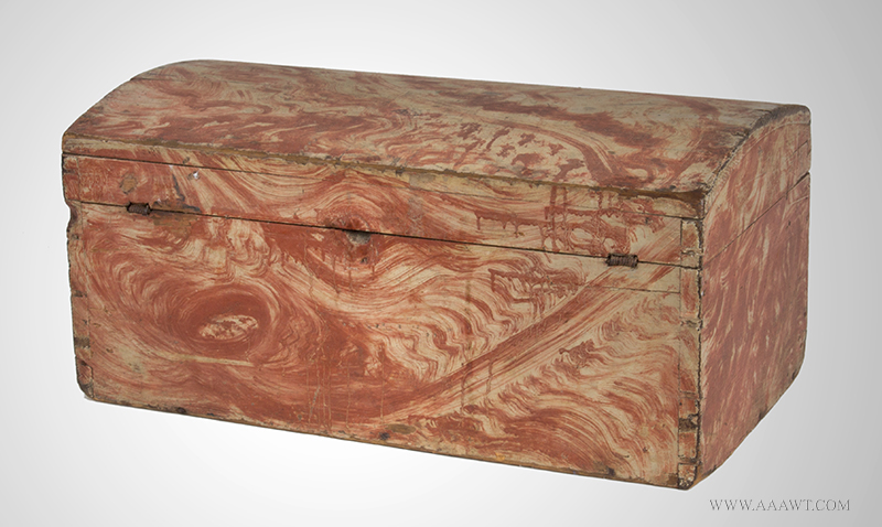 Dome Top Box, Small Size Trunk, Paint Decorated, Original Salmon view-3_1221-6