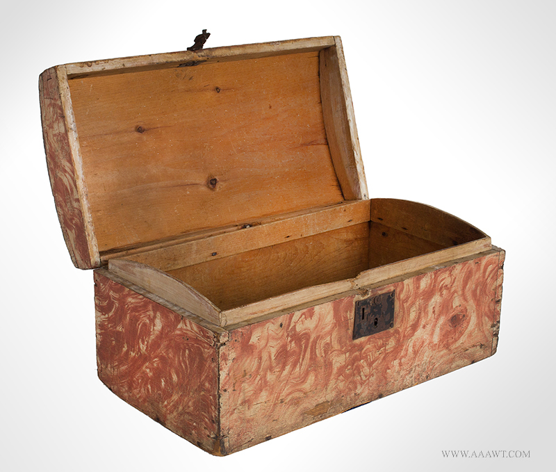 Dome Top Box, Small Size Trunk, Paint Decorated, Original Salmon view-4_1221-6