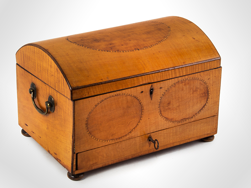 Neoclassical Inlaid Dome Top Workbox, Brass Handles England, circa 1800 Satinwood and pine, entire view 1