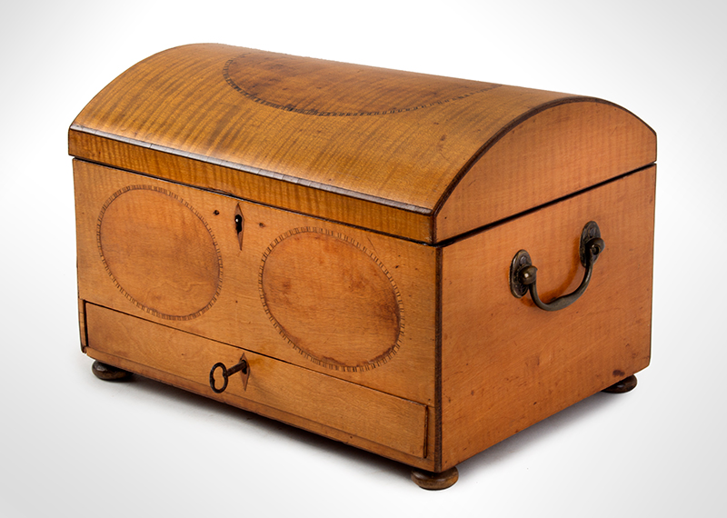 Neoclassical Inlaid Dome Top Workbox, Brass Handles England, circa 1800 Satinwood and pine, entire view 2