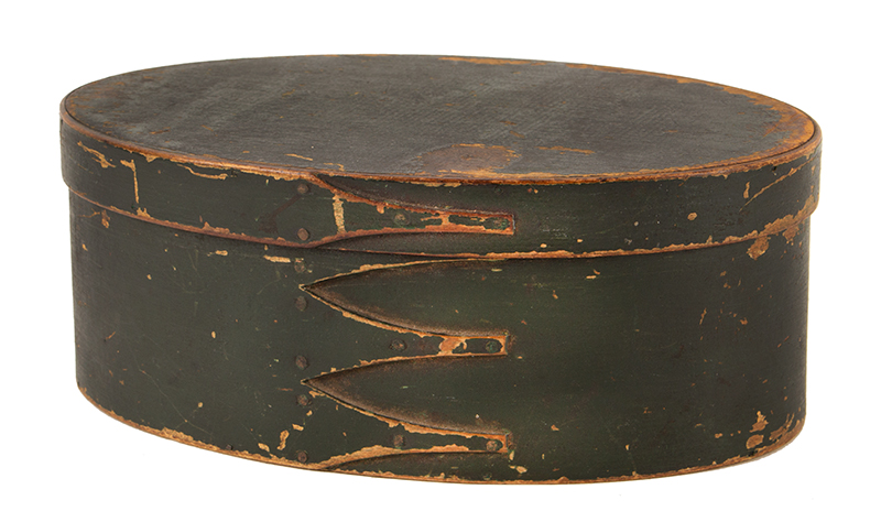 Antique Shaker Box, Oval, Bentwood, Three Fingers, Original Green Paint, 19th Century Maple and pine, entire view
