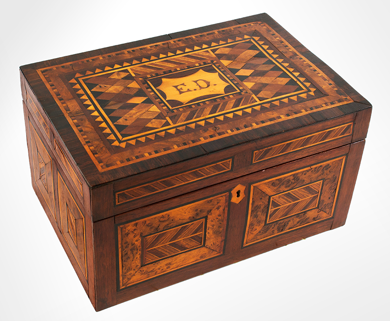 Antique, Ladies Work Box, Marquetry Sewing Box American, Found in Philadelphia, circa 1850-1880 Mixed wood inlays on pine case, entire view 1