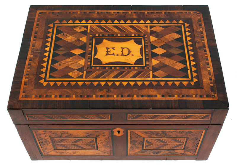 Antique, Ladies Work Box, Marquetry Sewing Box American, Found in Philadelphia, circa 1850-1880 Mixed wood inlays on pine case, entire view 2