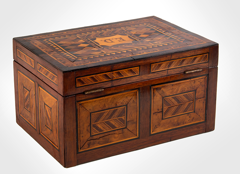 Antique, Ladies Work Box, Marquetry Sewing Box American, Found in Philadelphia, circa 1850-1880 Mixed wood inlays on pine case, entire view 3