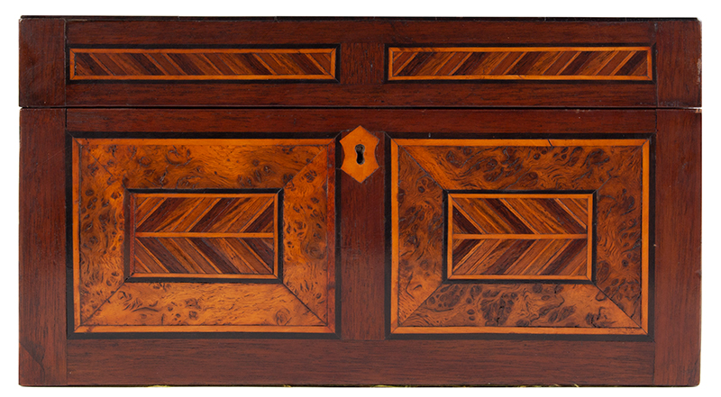 Antique, Ladies Work Box, Marquetry Sewing Box American, Found in Philadelphia, circa 1850-1880 Mixed wood inlays on pine case, entire view 5