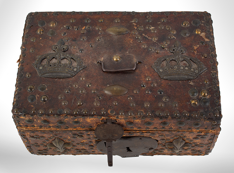 17th Century Leather Bound Trunk, Brass Studs, Crowns, Fleur de Lis  Probably French, entire view 1