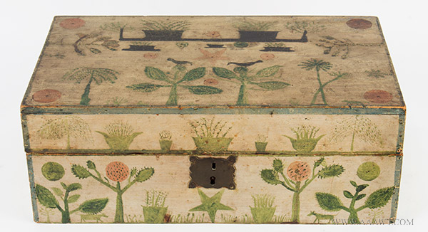 Paint Decorated Work Box, Outstanding Folk Art, Likely…Maine, Circa 1820 Displaying a Primitive New England Aesthetic, entire view