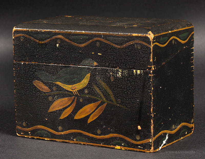 Antique Recipe Box, Original Painted Decoration, Reminiscent of Tole Ornamentation Machine Finger Dovetail Joinery, entire view
