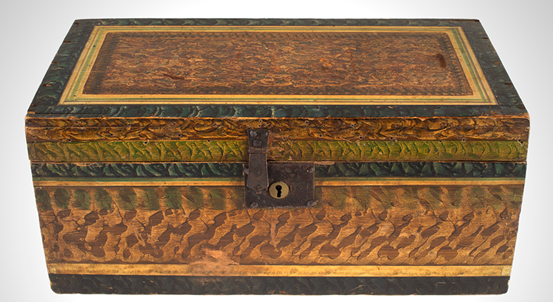 Antique, Paint Decorated Flat Top Trunk, Vinegar Grained, Four Color, Original Paint New England, Early 19th Century [Written in chalk under lid: Adams, Mass.], entire view 1
