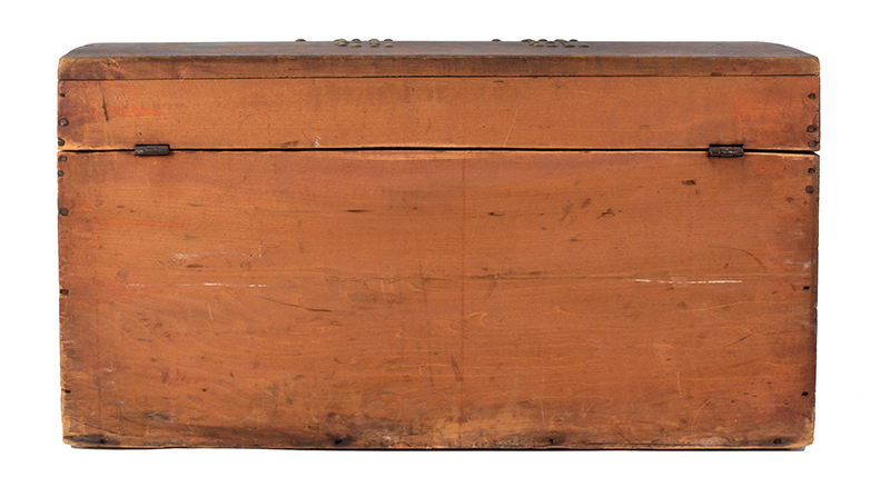 Folk Art, Paint Decorated Trunk, Brass Tack Initials – B.B., Original Condition  New England, circa 1825-1835, back view
