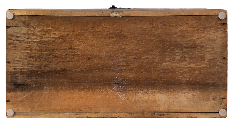 Folk Art, Paint Decorated Trunk, Brass Tack Initials – B.B., Original Condition  New England, circa 1825-1835, bottom view