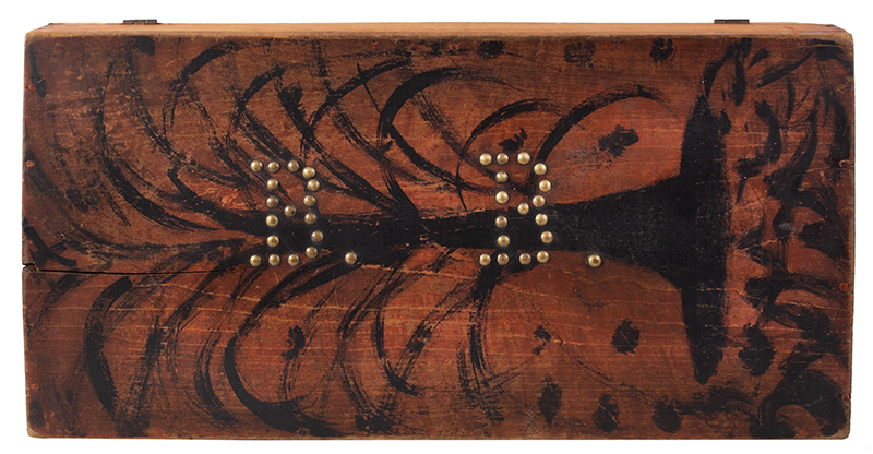 Folk Art, Paint Decorated Trunk, Brass Tack Initials – B.B., Original Condition  New England, circa 1825-1835, top view