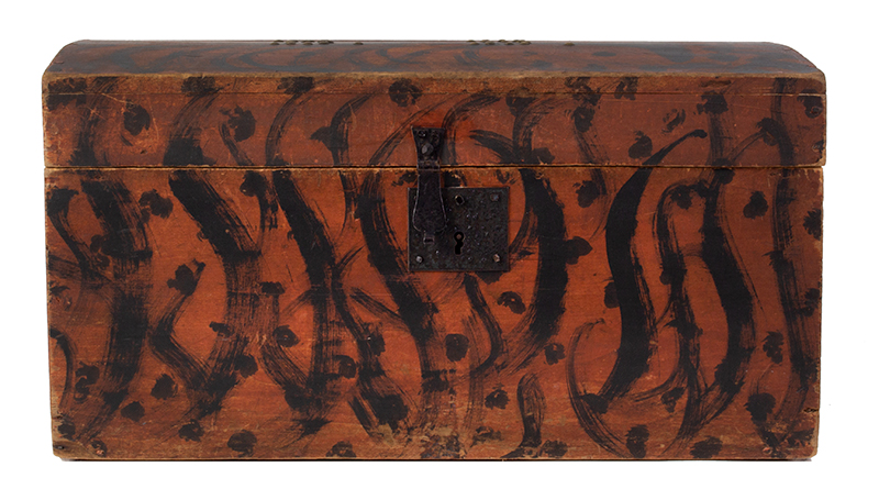 Folk Art, Paint Decorated Trunk, Brass Tack Initials – B.B., Original Condition  New England, circa 1825-1835, entire view 1