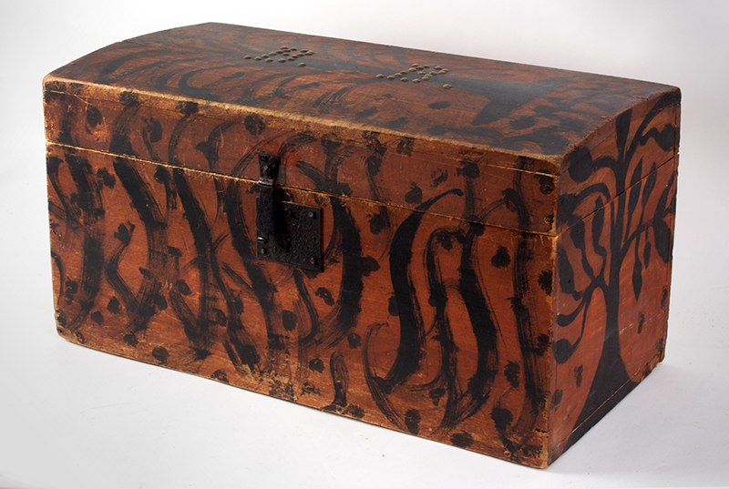 Folk Art, Paint Decorated Trunk, Brass Tack Initials – B.B., Original Condition  New England, circa 1825-1835, entire view 2