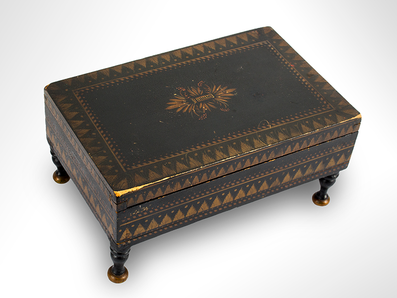 Antique Paint Decorated Jewelry Box, Bureau Trinket Box, Bronze & Gold Powder Stenciling Probably New York, Circa 1825-1850, entire view 2