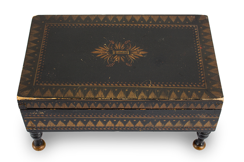 Antique Paint Decorated Jewelry Box, Bureau Trinket Box, Bronze & Gold Powder Stenciling Probably New York, Circa 1825-1850, entire view 3