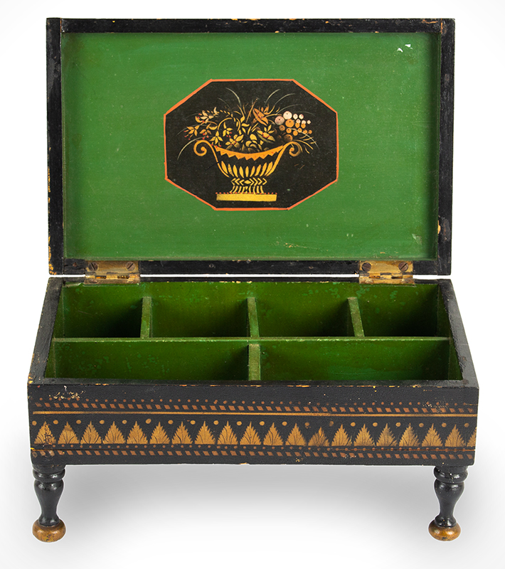 Antique Paint Decorated Jewelry Box, Bureau Trinket Box, Bronze & Gold Powder Stenciling Probably New York, Circa 1825-1850, entire view 4