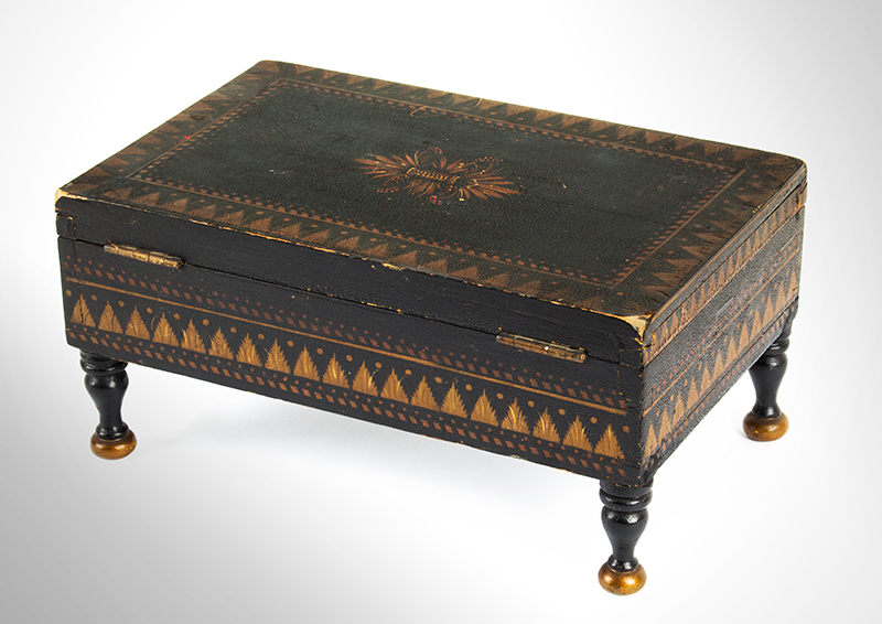 Antique Paint Decorated Jewelry Box, Bureau Trinket Box, Bronze & Gold Powder Stenciling Probably New York, Circa 1825-1850, entire view 5