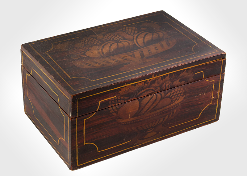 Stenciled & Paint Decorated Flattop Document Box Maine, Circa 1835-1840 Basswood, chestnut bottom, entire view 1