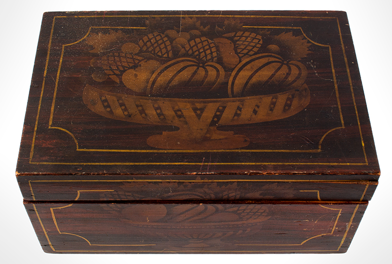 Stenciled & Paint Decorated Flattop Document Box Maine, Circa 1835-1840 Basswood, chestnut bottom, entire view 2