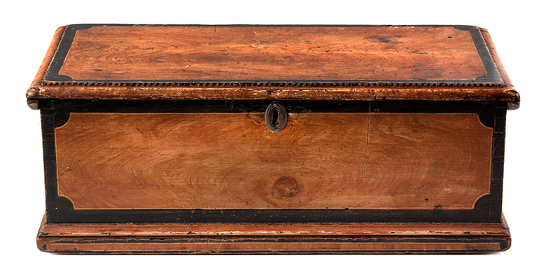 Antique Paint Decorated Miniature Trunk, Carved Work Box, Fitted Interior New England, Early 19th Century, entire view 1