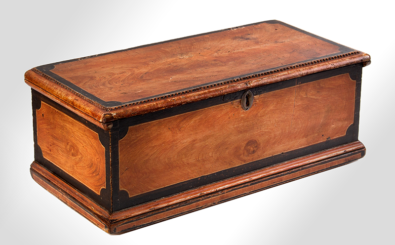 Antique Paint Decorated Miniature Trunk, Carved Work Box, Fitted Interior New England, Early 19th Century, entire view 2