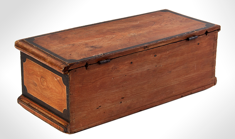 Antique Paint Decorated Miniature Trunk, Carved Work Box, Fitted Interior New England, Early 19th Century, entire view 3