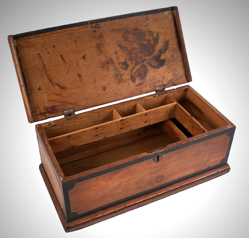 Antique Paint Decorated Miniature Trunk, Carved Work Box, Fitted Interior New England, Early 19th Century, entire view 4