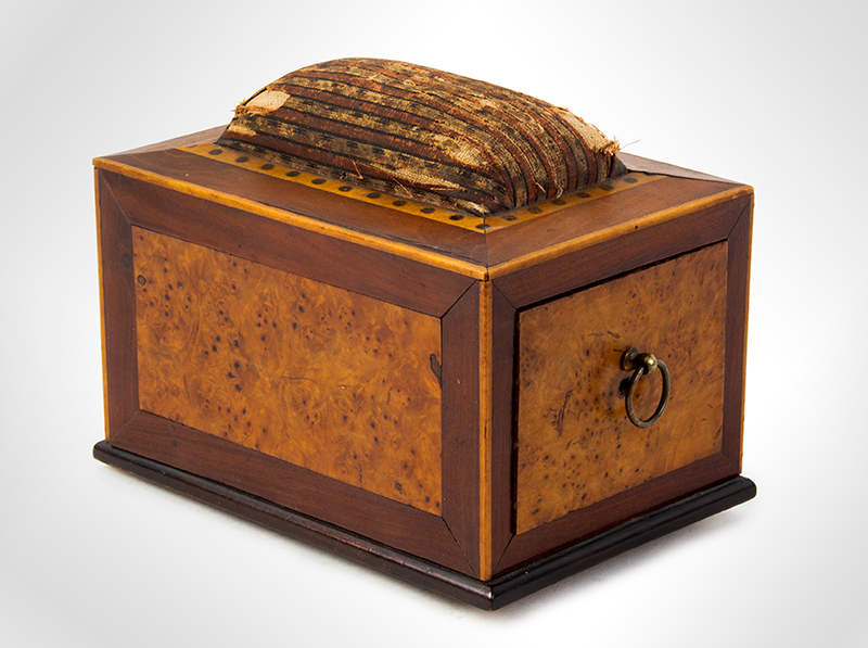 Antique, Sewing Box, Pin Cushion, Table Clamp Possibly Portsmouth, New Hampshire, circa 1800  Cherry, birds eye maple and eastern white pine, entire view 1