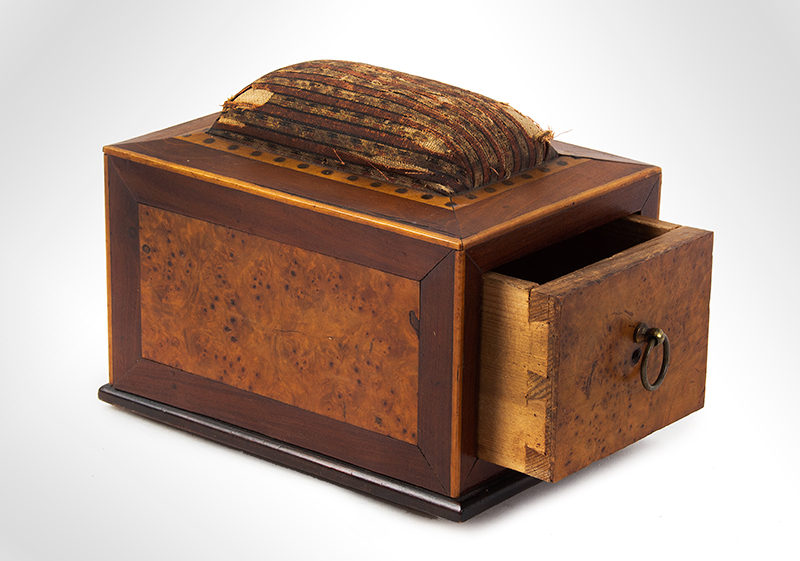 Antique, Sewing Box, Pin Cushion, Table Clamp Possibly Portsmouth, New Hampshire, circa 1800  Cherry, birds eye maple and eastern white pine, entire view 2