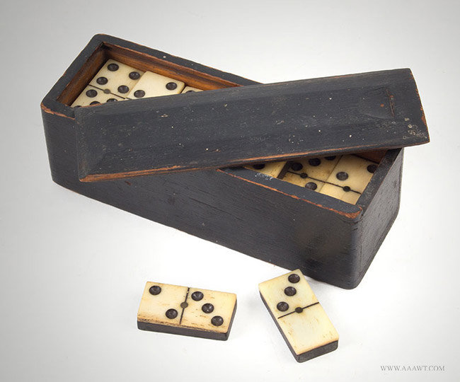 Slide Lid Box, Black Paint With 28 Bone Dominoes made with Brass Pins and Wire Nails