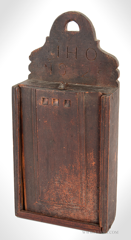 Candle Box in GREAT Surface, Raised Panel Slide-lid, IHO - 1825 Anonymous, Fruitwood, entire view
