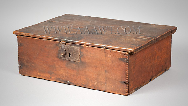 A Period American William & Mary Tabletop Box, Original Surface, Bible, Writing New England, Early 18th Century, entire view 4
